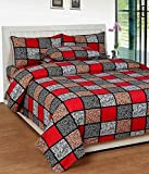 KS21 Homes 3D Printed Glace Cotton Double Bedsheet with 2 Pillow Covers, Size