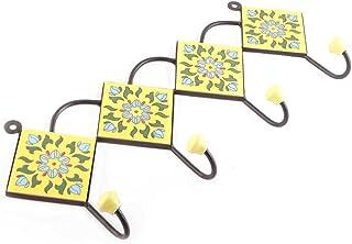 Indianshelf Lot de 1 patère en céramique faite à la main Motif floral Jaune antirouille Pour vêtements, clés
