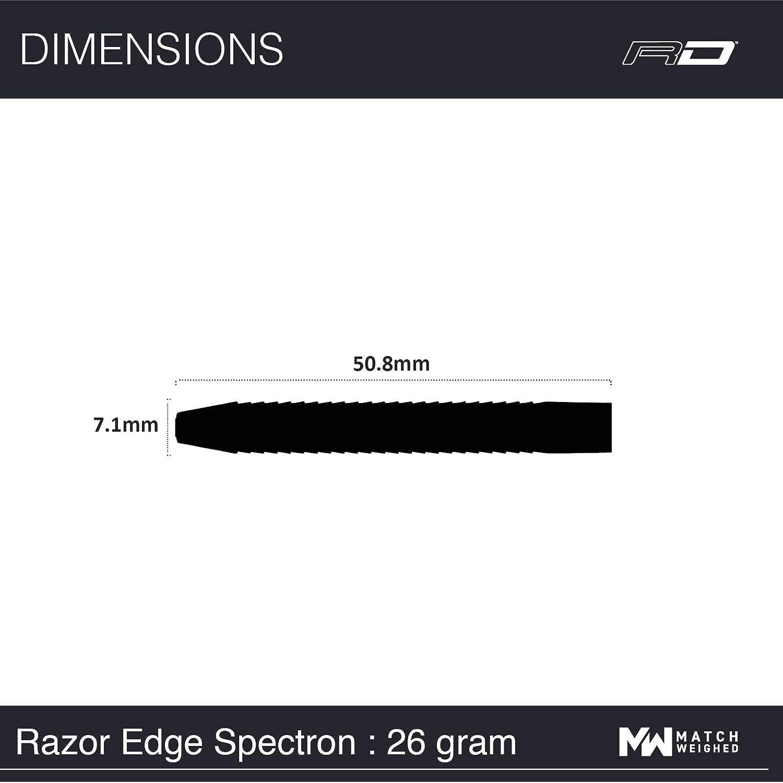 24g o 26g Dardos de Tungsteno de Punta de Acero con Plumas y Eje de Dardos RED DRAGON Razor Edge Spectron 20g 22g