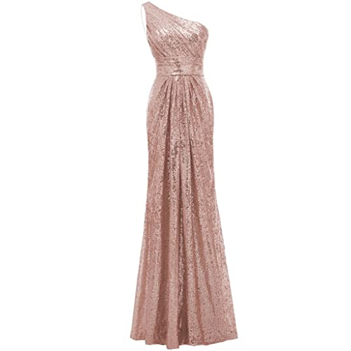 8ca9389f977 SOLOVEDRESS Women s Mermaid One Shoulder Sequined Long Bridesmaid Dresses  Wedding Party Gown