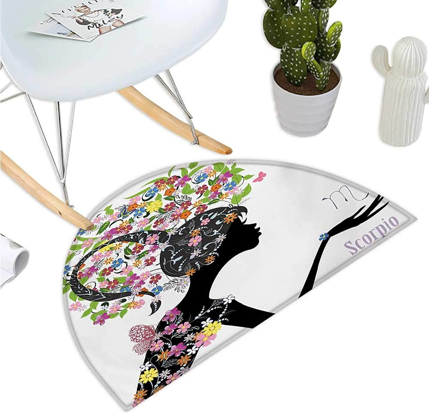 Zodiac Scorpio Semicircle Doormat Fashion Girl Silhouette with colorful Blossoming Floral Dress and Hairstyle Entry Door Mat H 47.2  xD 70.8  Multicolor