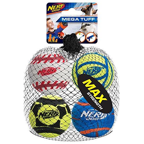 Nerf Dog Mega Stärke Sport Bälle Spielzeug, Medium, 4Stück