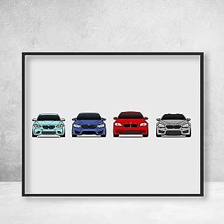 BMW M Power Poster Print Wall Art of F Series BMW Car Models: M2 F87, M3/M4 F80/F82, M5 F10, M6 F13