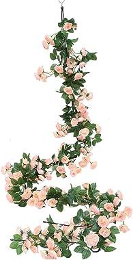 Luyue 2 Pack 69 Heads Artificial Rose Vine Flowers Garlands Decorations Floral Hanging Garden Craft Rose Ivy Plants for Weddi