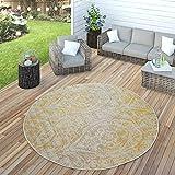Paco Home In- & Outdoor Teppich Modern Shabby Chic Stil Terrassen Teppich Gelb, Grösse:60x100 cm - 4