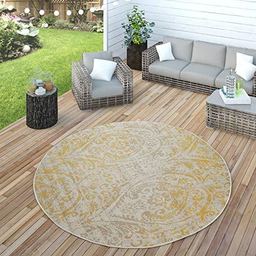 Paco Home In- & Outdoor Teppich Modern Shabby Chic Stil Terrassen Teppich Gelb, Grösse:Ø 160 cm Rund