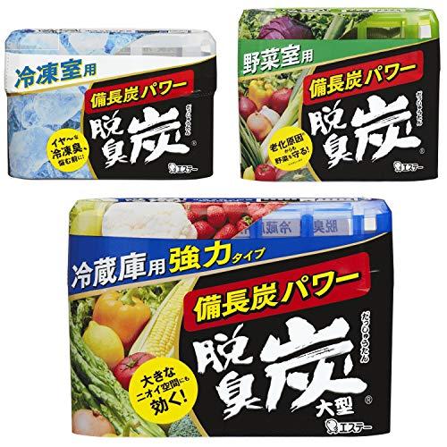 【まとめ買い】 脱臭炭 冷蔵庫 まるごとセット(冷蔵庫用大型 + 冷凍室用 + 野菜室用) 冷蔵庫用脱臭剤 各種