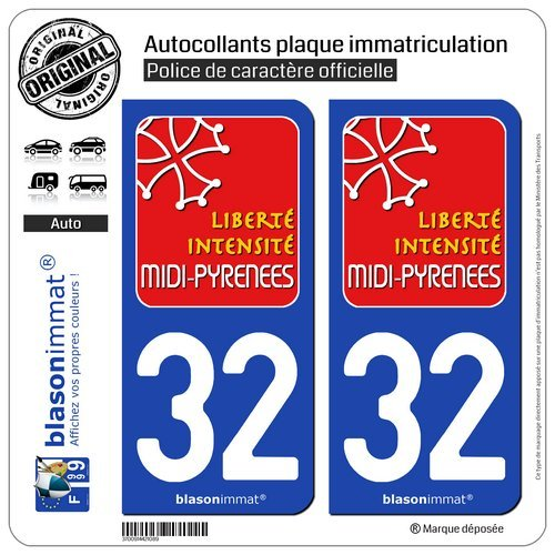 Blasonimmat - 2 pegatinas para placa de matrícula de coche 32 Midi Pirineos - Turismo