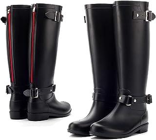 a8f1d8b95d AONEGOLD Botas de Agua Mujer Lluvia Altas Zapato Impermeables Ajustable  Cremallera y Hebilla Goma Botas Wellington