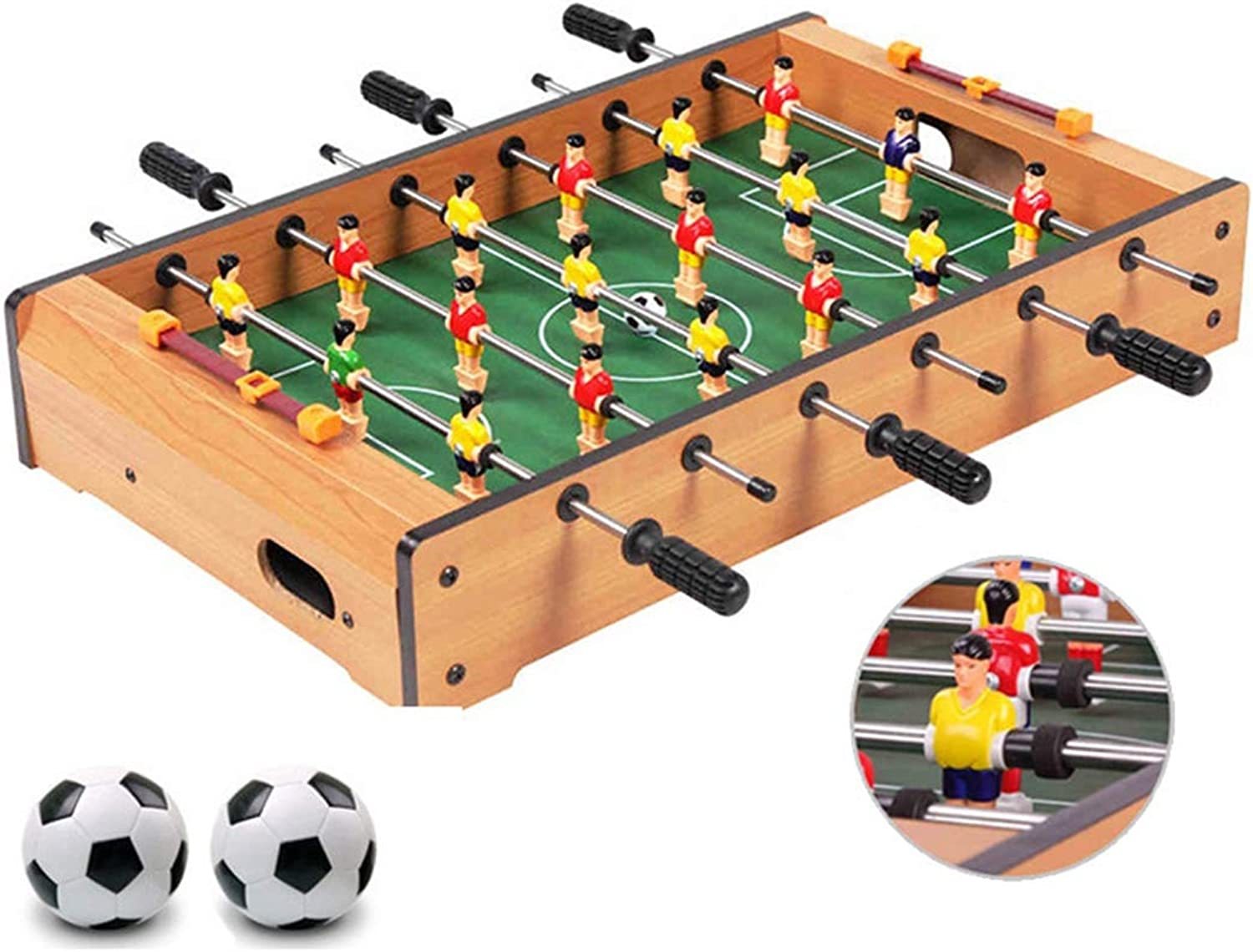 Zgifts Tabletop Foosball Table Games  48cm Solid Wood Portable Mini Table Soccer Sport Game Set Room Sports with two balls for Home Party Adults Kids