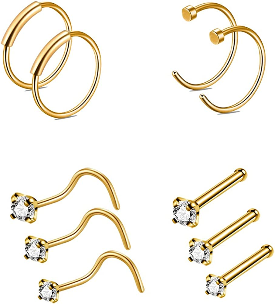 CrazyPiercing specialty shop Nose Ring Hoop 10Pcs Rings 22G Studs P Now on sale