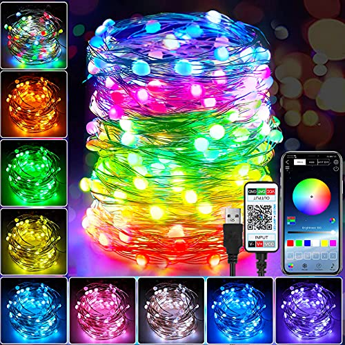 LIUDU LED Fairy String Lights Indoor, USB Powered 32.8ft 100LEDs RBG Color Christmas Tree Lights with Bluetooth App Control for Bedroom Party Wedding Chirstmas Decoration