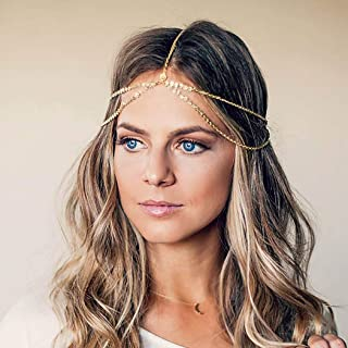 Barogirl Gold Head Chain Headdress Small Coins Hair Chain Jewelry Boho Prom Wedding Headpiece for Women (Gold B)
