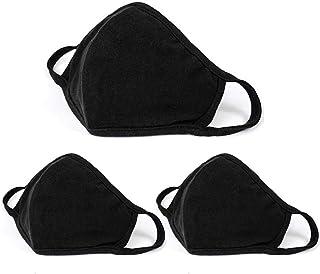 JamBon 3 Pcs Fashion Protective Face Masks, Unisex Black Dust Cotton Mouth Masks, Washable, Reusable Masks