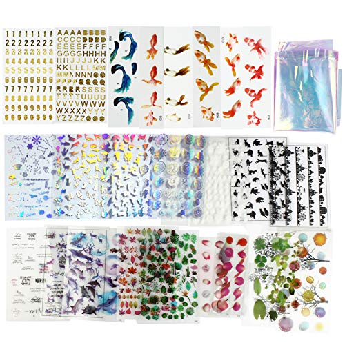 LETS RESIN 30 Sheets Resin Supplies Kit, Transparent Decorate Stickers for Silicone Resin Molds,Resin Inclusion with Holographic Clear Film, Filling Materials for Resin Craft