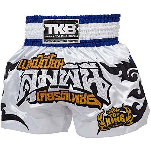 TOP King Muay Thai Shorts, TKTBS-076, weiß, Boxing Thaibox Kickbox Short Hosen Größe L
