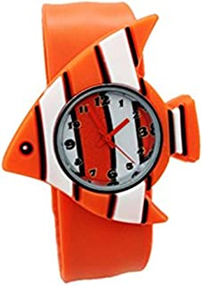 Cute Cartoon Slap Watch Striped Fish Design with Bendable Silicone Strap Wristwatches for Children