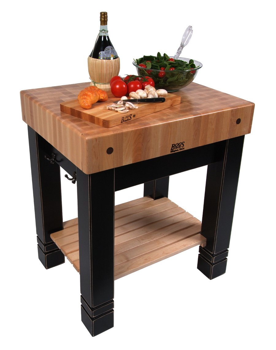 Amazon Com Butchers Block Table Black Furniture Decor