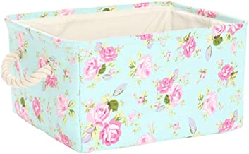 uxcell® Storage Basket Bin, Canvas Fabric Toy Organizer Container with Rope Handles, Collapsible FabricToy Box for Shelves...