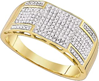 FB جواهر الذهب الأصفر 10kt رجل جولة الماس باند الدائري 3/8 Cttw