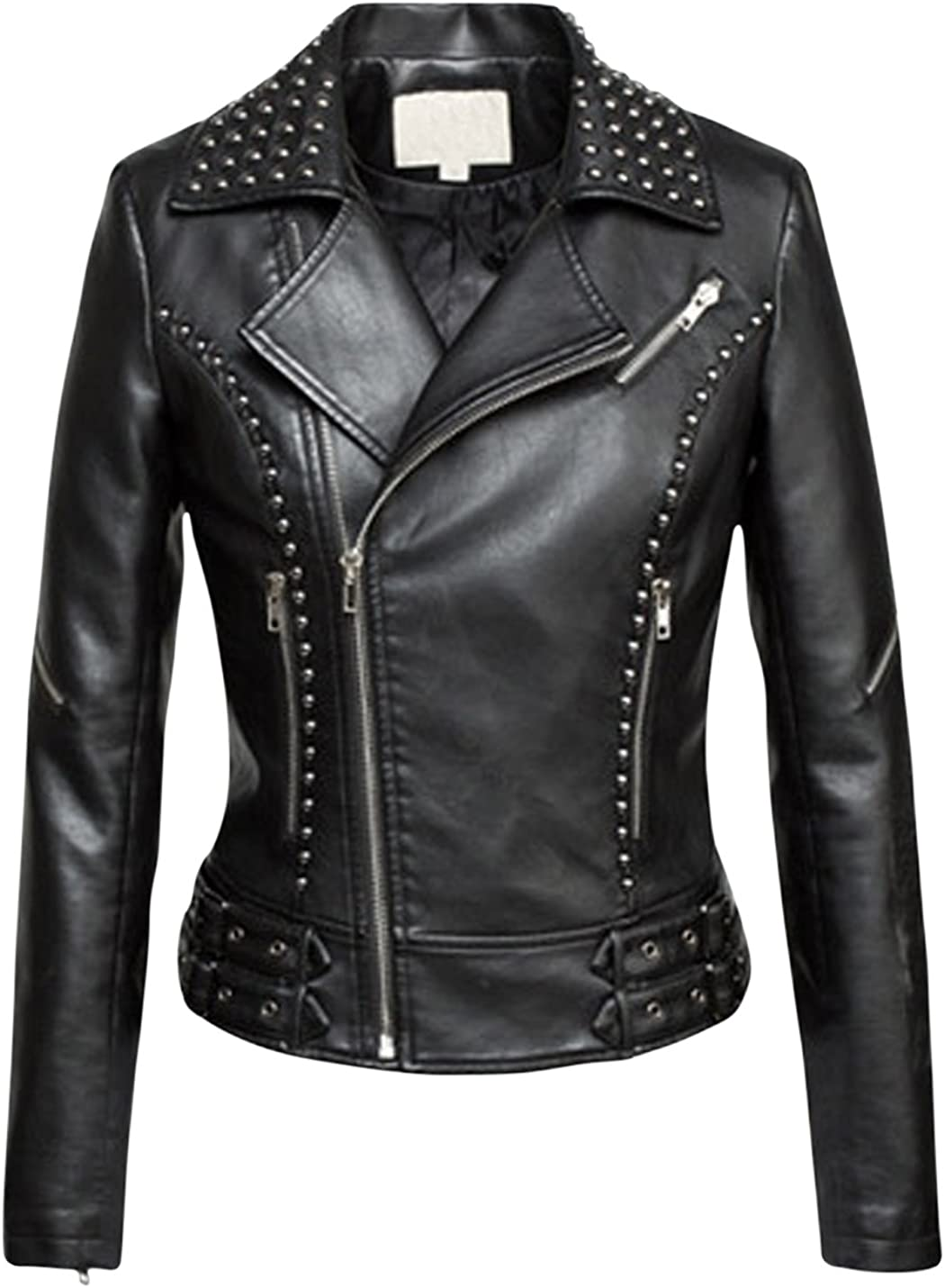 Springrain Women's Notch Lapel Slant Zipper Short PU Leather Moto Jackets