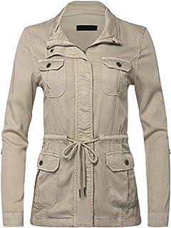 3a52ea6da01 FASHION BOOMY Womens Zip Up Safari Military Anorak Jacket W Hood