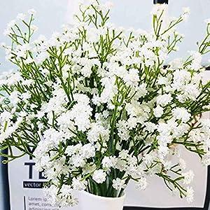 Qussion 5PCS Artificial Flower DIY Fake Gypsophila Single Silk Rose Floral Bridal Bouquets Wedding Home Table Garden Party Decor (Color : Rose B)