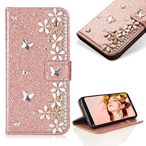 Case for Galaxy A6 Plus 2018,Cistor Luxury 3D Diamond Crystal Pearl Glitter Flower Butterfly Wallet Case for Samsung Galaxy A6 Plus 2018,PU Leather Stand Case with Card Slot Magnetic Closure,Rose Gold