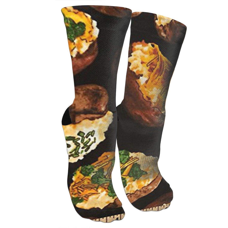 靴下 抗菌防臭 ソックス Munchiesロードジャガイモスポーツスポーツソックス、旅行&フライトソックス、塗装アートファニーソックス30 cmロング靴下