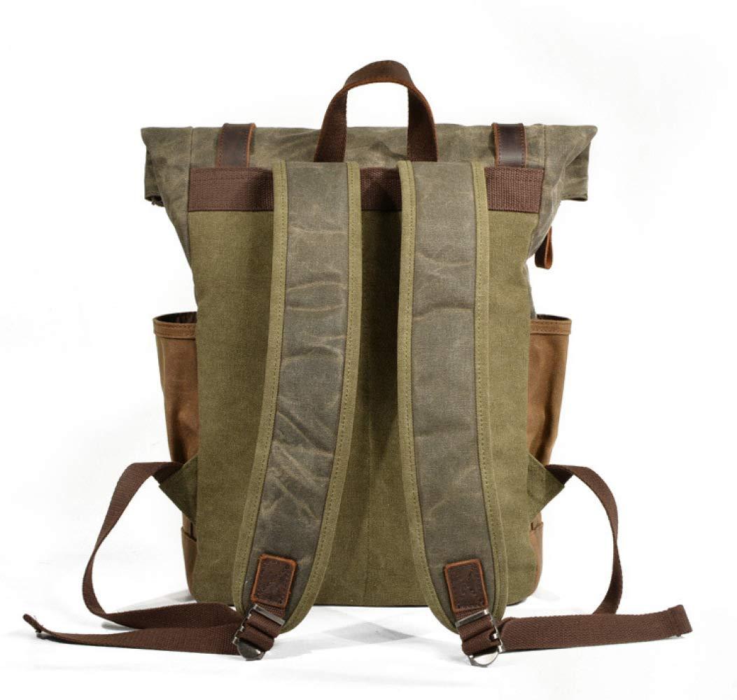 Color : Gray Muchuan Thicken Waterproof Retro Backpack Shoulder Bag Oil Wax Canvas Travel Computer Bag Outdoor Mountaineering Bag