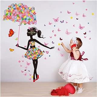 Alrens 57 x 67 Inch Flower Umbrella Butterfly Girl Wall Sticker Removable Vinyl DIY Art Mural Decals Decor for Living Room/Bedroom/Playroom/Hallway/Kindergarten/Home School