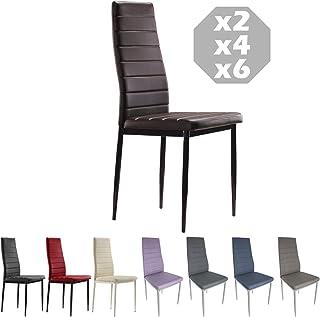MOG CASA - Conjunto de 4 sillas de Comedor con Patas metálicas y tapizadas de Piel sintética alcochado - Dimensiones 42x42...