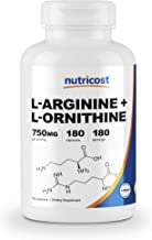 Nutricost L-Arginine L-Ornithine 750mg; 180 Capsules