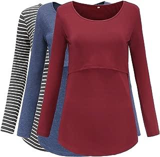 Jezero Women's Long Sleeve Nursing Tops Round Neck Breastfeeding Tunic 3-Pack