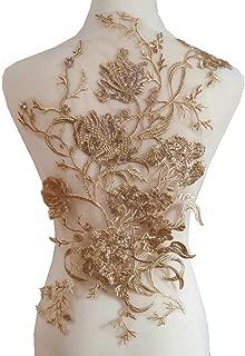 Fine Embroidery Lace Applique High-Grade Wedding Dress/Dress/Children's Wear/Overcoat DIY Accessories Lace Decoration (Golden Rose)