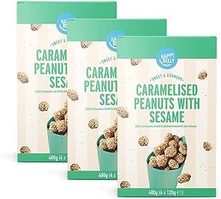 Amazon merk - Happy Belly gekarameliseerde pinda's met sesam, 480 g x 3