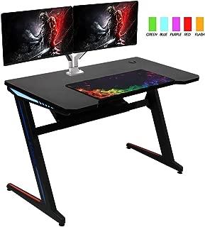 "Kinsal Gaming Desk Computer Table 45"" Z Shape E Sports Racing Table with LED Light Ergonomic Comfortable Height (Free : Large Size Mousepad)"