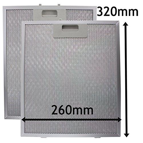 SPARES2GO Metalen gaasfilter voor ATAG afzuigkap/afzuigkap/afzuigkap Ventilator (Pak van 2 Filters, Zilver, 320 x 260 mm)