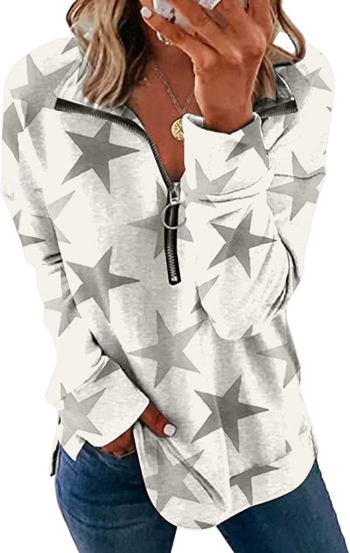 wlczzyn Zip-Up Sweatshirts for Women, Women's Lapel Zipper Sweatshirts Long Sleeve Pullover Tops Casual Blouse Shirts