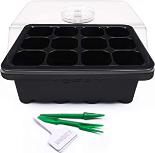KORAM 10 Sets Seed Starter Tray 120 Cells Seed Tray Plant Germination Kit Garden Seed Starting Tray with Dome and Base Plus Plant Tags Hand Tool Kit, Black – Garden Gift
