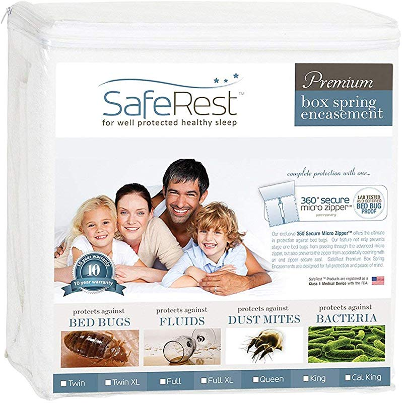 SafeRest Premium Box Spring Encasement Lab Tested Bed Bug Proof Dust Mite Proof And Waterproof Breathable Noiseless And Vinyl Free Queen Size