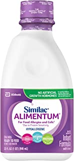 Similac Alimentum Hypoallergenic Baby Formula For Food Allergies and Colic, Ready-to-Feed, 1-Quart Bottle