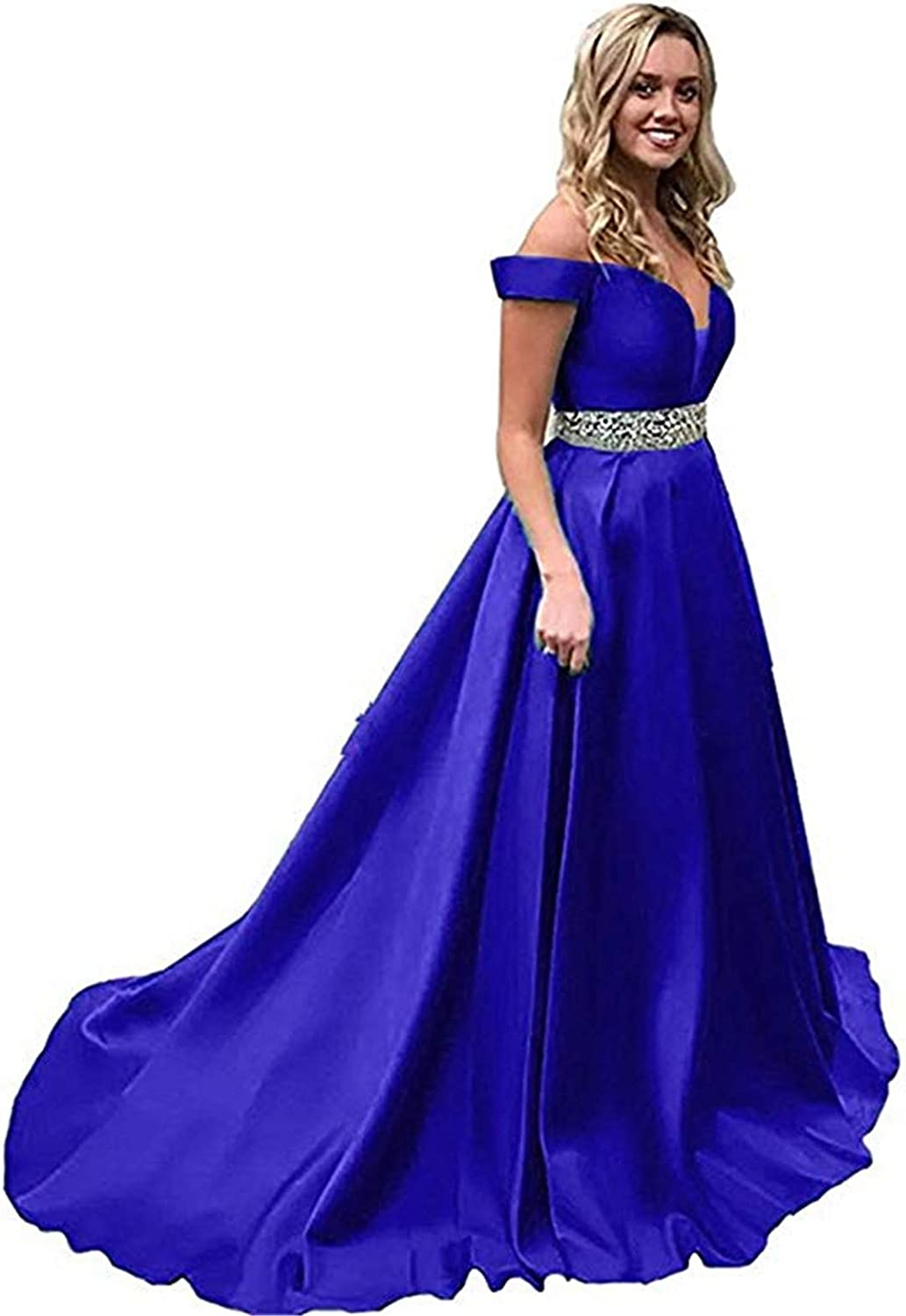 Scarisee Womens Aline Off Shoulder Beaded Prom Evening Party Dresses Pockets218