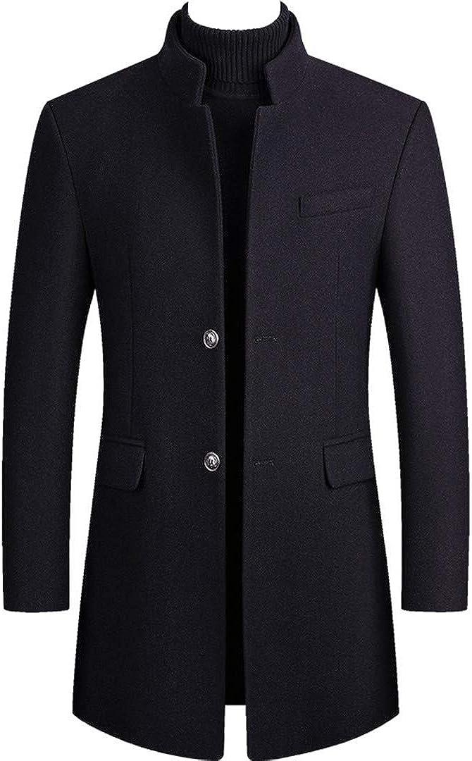 Men Winter Wool Blends Coat Solid Color Simple Coat Comfortable Wool Blend Overcoat