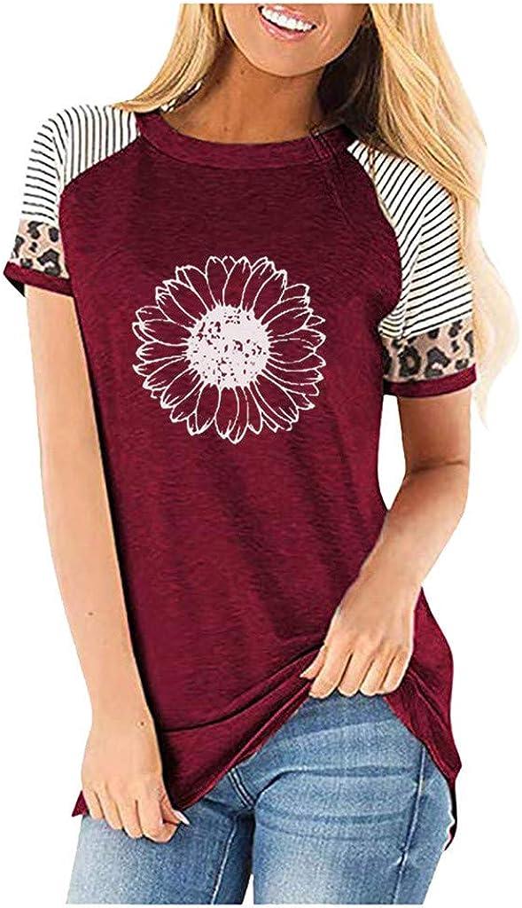 AODONG Womens Short Sleeve Tops, Tee Tops Loose T-Shirts Casual Printing Short Sleeves O-Neck Tops Funny Shirts