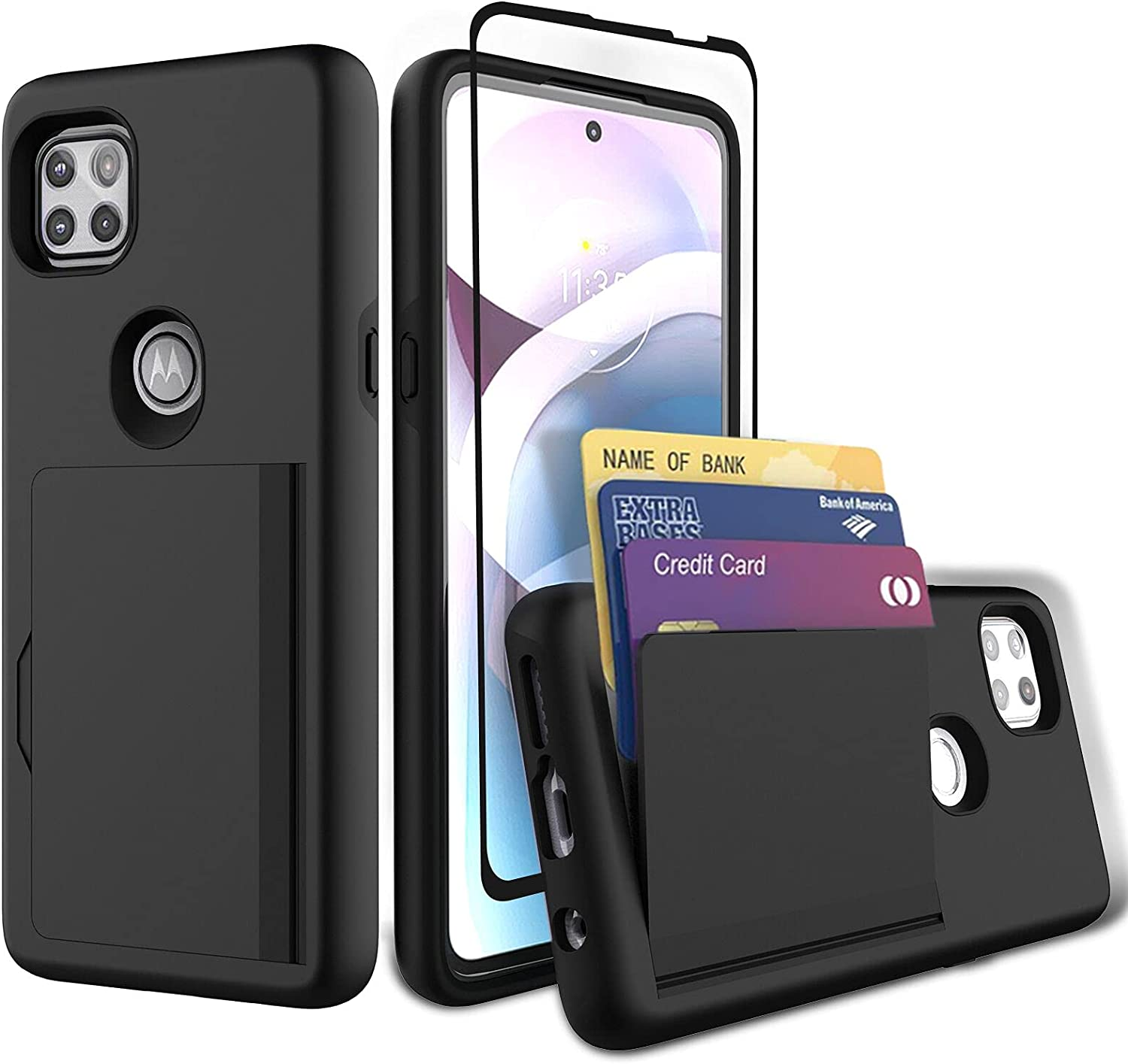 Sofiso for Moto One 5G Ace Case, Moto G 5G Case with Tempered Glass Screen Protector, Dual Layer Smooth Hard Back Cover Wallet Pocket Credit Card ID Protective Case for Motorola One 5G Ace -Black