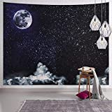 SENYYI Moon Stars Wall Tapestry Wall Hanging Outer Space and Galaxy Tapestry Night Sky with White Cloud Home Decor for Room (59.1 x 82.7 inches)