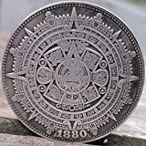 1880 Aztec Calendar Art Coin Replica Morgan Silver Dollar New Orleans Mint Mark 1.5' (38mm) Collectible with Protective Capsule and Display Stand