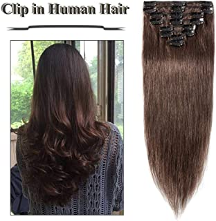Clip in Human Hair Extensions Medium Brown 22 inches 100% Human Hair Silky Straight Clip on 8pcs Set Standard Weft 75g Full Head for Women (22