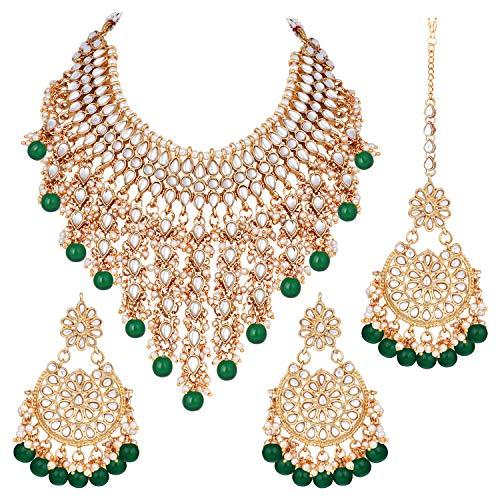 Aheli Parure de bijoux ethnique indienne traditionnelle Bollywood Kundan avec collier, boucles d'oreilles et Maang Tikka pour femme